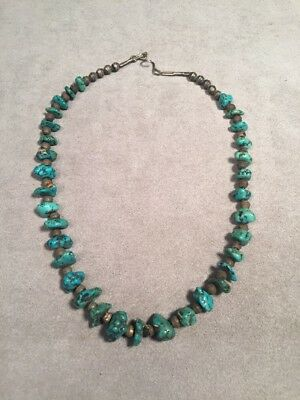 """Vintage Navajo Style South Western 16"""" Necklace w/ Natural Graduated Turquoise"""