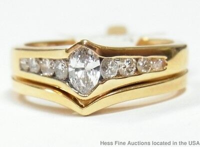 Quality Diamond 14k Yellow Gold Ring 0.80ctw Engagement Wedding Set new w/ Tags