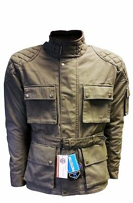 Warrior Waxed Cotton Waterproof Ce Armours Quilted Lining Men Cotton Wax Jackets