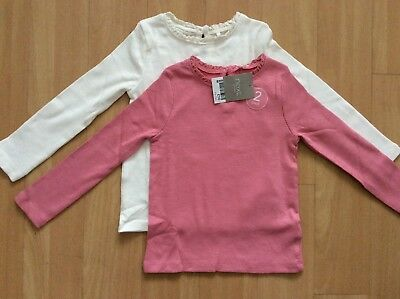 New Next Baby Girls Ribbed Long Sleeve Tops Pink White 1.5-2 Years 18-24