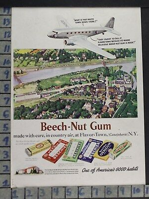 1939 Aviation Airplane Food Candy Beech Nut Gum Canajoharie Vintage Ad Dc66
