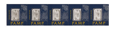 Lot of 5 - 1 gram Platinum Pamp Suisse Bar .9995 In Assay from Multigram Fortuna