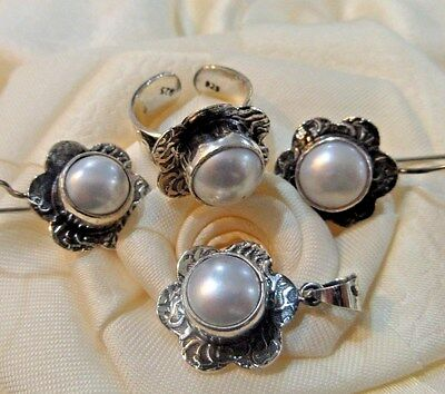925 Sterling Silver Handmade Jewelry / White Natural Pearl Set Ring Adjustable