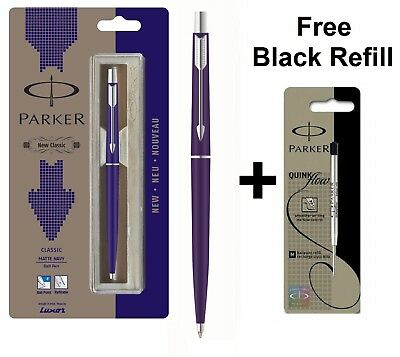 GENUINE PARKER CLASSIC MATT MATTE NAVY BLUE BALL POINT PEN CT +Free Black Refill