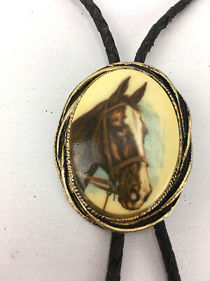 """COUNTRY RODEO Western Bolo Tie Mens Oval Leather 38"""" Vintage 1970 Horse Handmade"""