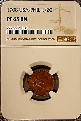 1908 Philippines 1/2 Cent. NGC PF 65BN ~ Rare Collection of Proofs Seldom Seen !