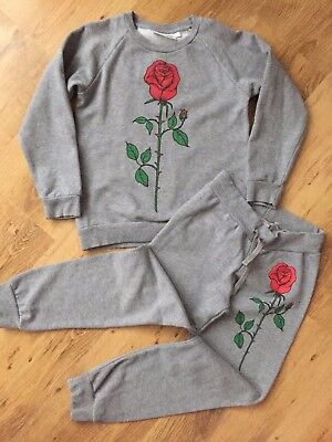 Girls Grey Tracksuit with Red Rose Applique by MINI RODINI - 6/7Y