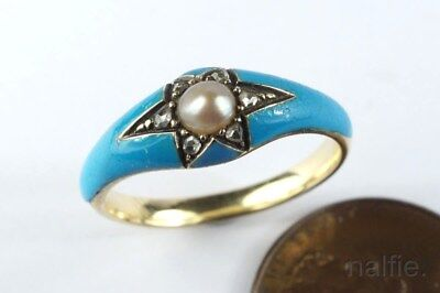 LOVELY ANTIQUE VICTORIAN ENGLISH 15K GOLD PEARL DIAMOND BLUE ENAMEL RING c1860