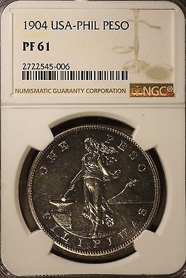 1904 Philippines 1 Peso  NGC PF 61 ~ Rare Collection of Proofs Seldom Seen !