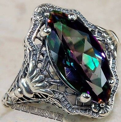 3CT Color Changing Rainbow Topaz 925 Sterling Silver Filigree Ring jewelry Sz 6