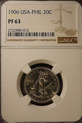 1906 Philippines 20 Centavos NGC PF 63 ~ Rare Collection of Proofs Seldom Seen !