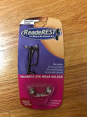 ReadeREST Magnetic eye-wear holder, (6) Swarovski Crystals, new