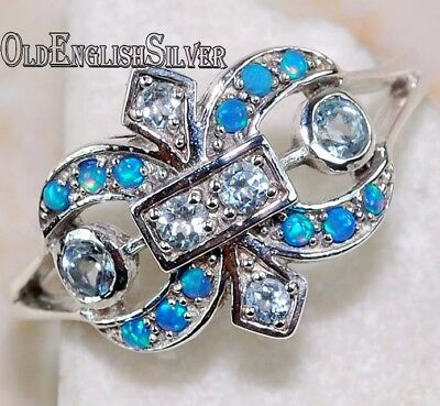 1CT Aquamarine 925 Solid Sterling Silver Art Deco Fleur-De-Lis Ring jewelry Sz 7