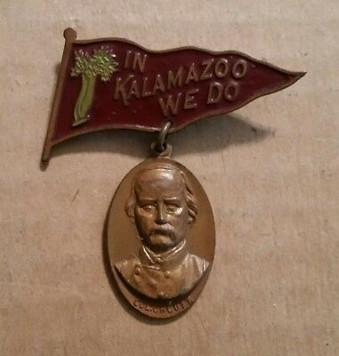 """In Kalamazoo We Do"" Colonel Adolphus Orcutt,G.A.R. Pinback,1900's"