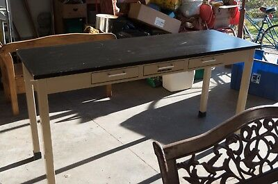 Laboratory Table w. Top Cupboard Cabinet Industrial