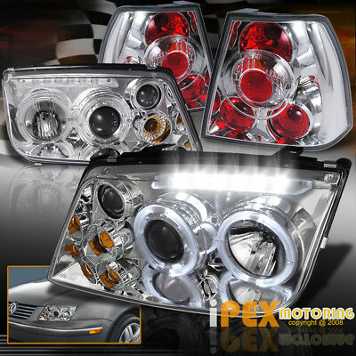 VOLKSWAGEN VW Jetta MK4 MK-4 Halo Projector LED Chrome Headlights + Tail Lights