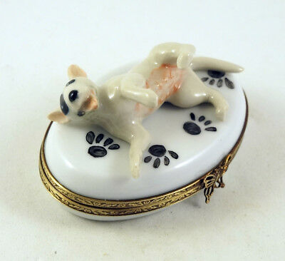 New Hand Painted French Limoges Trinket Box Bull Terrier Dog Puppy On Paw Prints