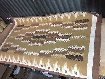 "Authentic Navajo Rug 59""x35"" Denver MUSEUM NH Beige brown cream geometric NICE"