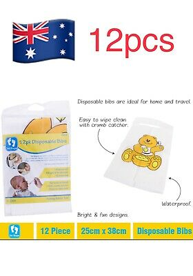 12pcs Disposable Bibs With Pocket Set Baby Boys Girls Newborns Kids WaterProof
