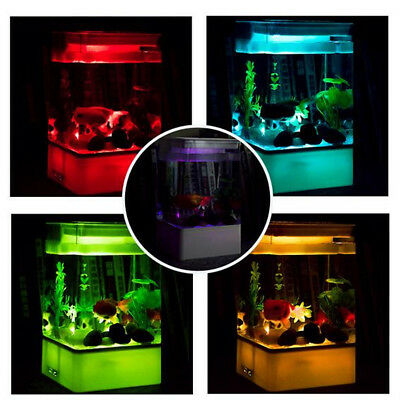 LED Light Square USB Self Cleaning Aquarium Ecological Desk Fish Tank Filter
