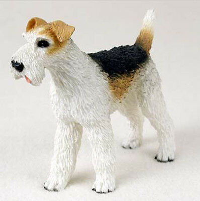 WIRE HAIRED FOX TERRIER DOG Figurine Statue Hand Painted Resin Gift