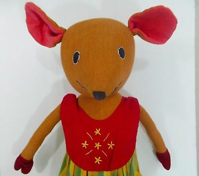 """Large Country Mouse Folk Art Doll 22"""" Handmade Primitive Fabric"""