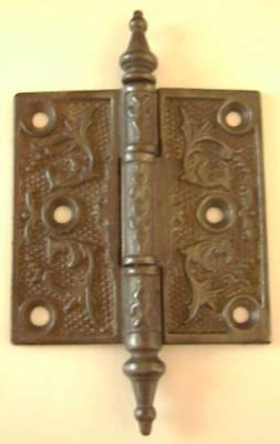 "Antique Ornate Door Hinge - Steeple Finials - 3.5"" x 3.5"""