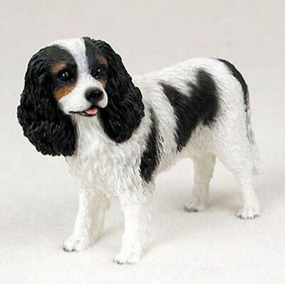 CAVALIER KING CHARLES SPANIEL DOG Figurine Statue Hand Painted Resin Tri Color