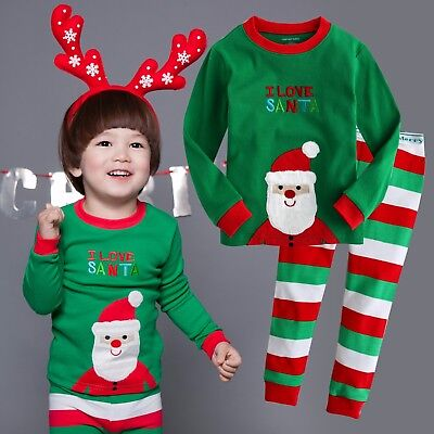 "Vaenait Baby Kids Boys Girls Christmas Clothes Pajama Set ""I Love Santa"" 12M-7T"