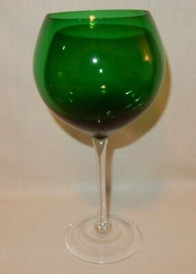 """Large 28 oz Emerald Green Balloon Wine Goblet 9 & 3/16"""" t Clear Stem Replacement"""