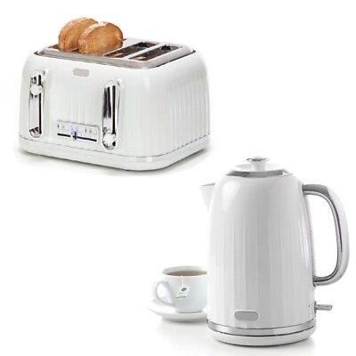 White Silver Kettle 1.7L or Toaster 4 Slice Set Cordless Automatic Water Boiler