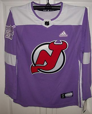 ae49096b Hockey Fights Cancer New Jersey Devils Purple 255J Adidas NHL Authentic Pro  Jers
