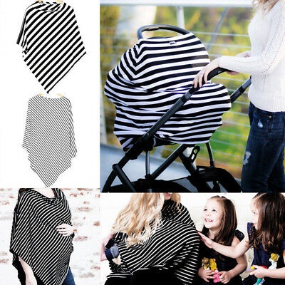 US Stock 2in1 Stripe Cloak Nursing Scarf Cover Up Apron For Breastfeeding Baby