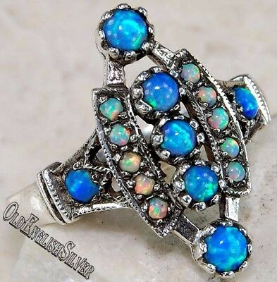 Blue Fire Opal & Opal 925 Sterling Silver Edwardian Style Ring jewelry Sz 6
