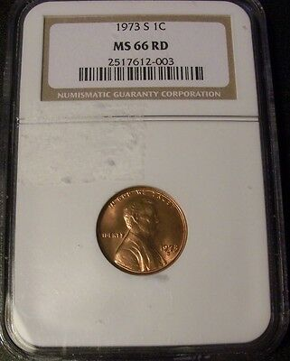 1973-S 1C NGC MS66RD red Lincoln Cent PQ super luster Key Date Was PCGS