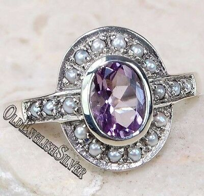 2CT Amethyst & Pearl 925 Sterling Silver Edwardian Style Ring Jewelry Sz 7