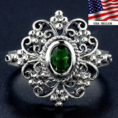 Emerald 925 Solid Genuine Sterling Silver Art Deco Filigree Ring Jewelry Sz 8