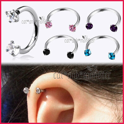 Gem Horseshoe Ball Nose Ear Lip Cartilage Septum Helix Tragus Ring Hoop Piercing