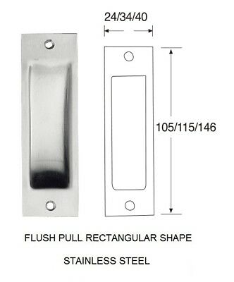 Rectangular Sliding Door Handles, In Brushed Or Polished Stainless Steel