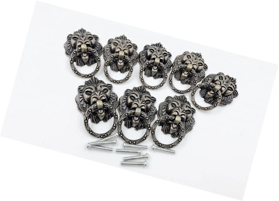 Dresser Drawer Cabinet Door Ring Lion Head Pull Handle Knob 8pcs (C)