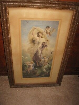 Antique Hans Zatzka Hand-Tinted Print In Antique Frame - Woman & Cherubs #1 Of 2