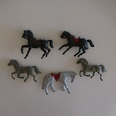 5 figurines chevaux vintage collection
