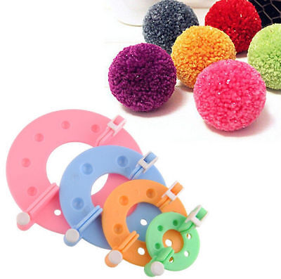 4 Size Pompom Maker Fluff Ball DIY Tool Weaver Needle Knitting Craft bobble Gift