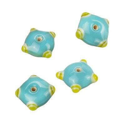 B21//9 Pink//Yellow Round Dot Lampwork Glass Beads 13x15mm Pack of 3