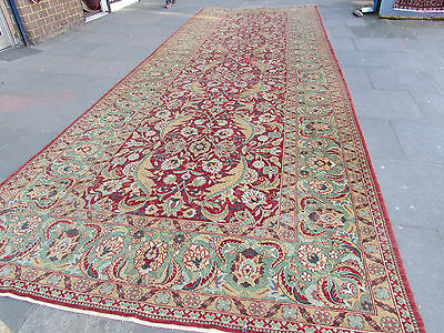 Oversize Old Hand Made Turkish Red Green Wool Large Long Carpet Runner 685x240cm