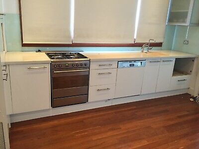 Second hand Kitchen with Ceaserstone bench top & sink & SMEG oven