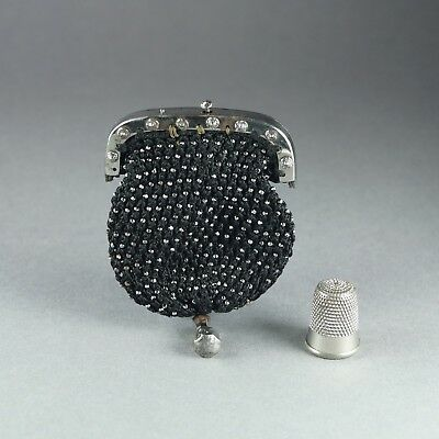 Antique Regency Coin Purse Cut Steel Frame Beadwork Rare Black Mourning C 1815