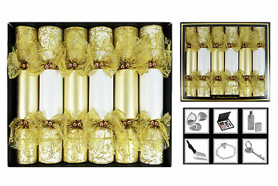 Christmas Crackers Handmade Box of 6 Gold Lace Glitter Textured Detail Xmas