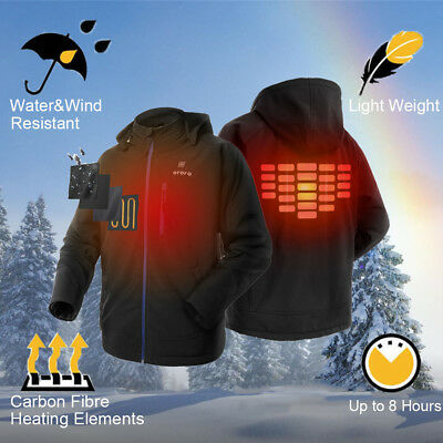 ORORO Mens Heated Jacket with Detachable Hood Water Resistant Heated Coats