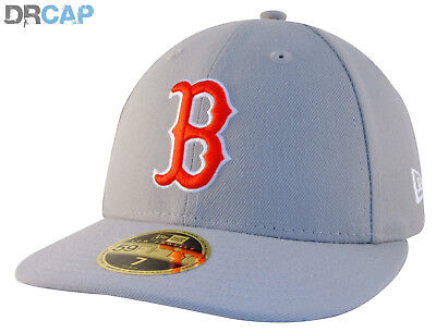 New Era MLB Boston Red Sox Poly Low Profile 59Fifty Grey fitted Baseball Caps